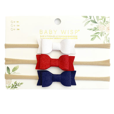 3 Infant Headbands - Mia Bows- Fourth of July Giftset - Baby Wisp