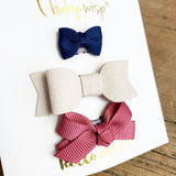 3 Mixed Style Wisp Clip Bows for Infant Girl | Fine Hairclips - Baby Wisp