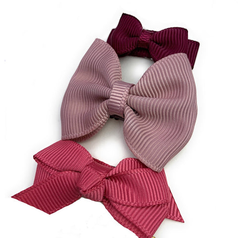 Valentine 3 Baby Bows Antique Hues Gift Set