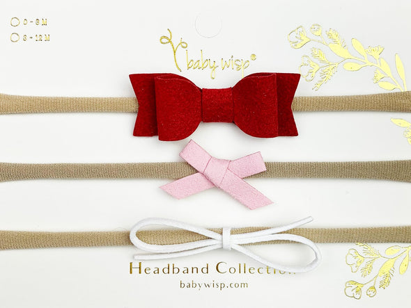 Valentine - 3 Faux Suede Mixed Bows for Baby Girls - Baby Wisp