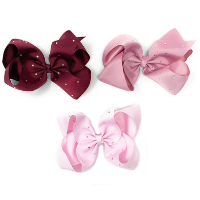 3 Nicki Sparkle Big Boutique Hairbow Hairclips - Pink Sunrise - Baby Wisp