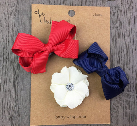 2 Bows and Flower Gift Set - Red, White & Blue - Baby Wisp
