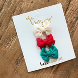Holiday Set - Mini Latch Grosgrain Butterfly Bows - Santa's Helpers - Baby Wisp