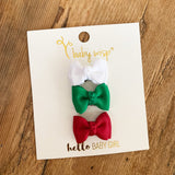 Holiday Set - Mini Latch Trendy Twist Bows - Christmas Cheer - Baby Wisp