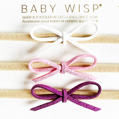 3 Suede Cord Hand Tied Bows Summer Gift Set - Baby Wisp