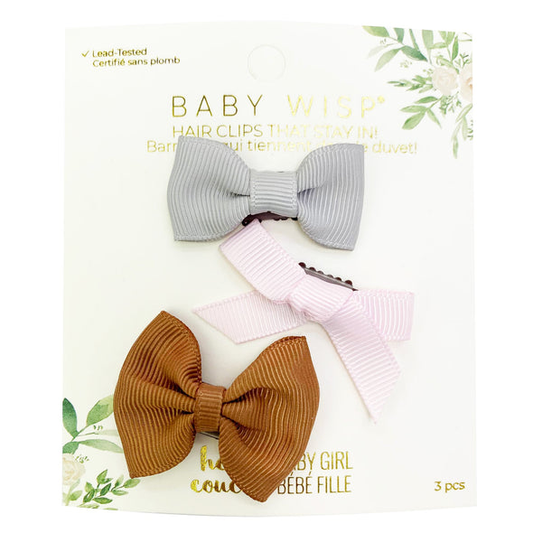 3 Ribbon Bows Wisp Clip Set for Infants - Unique Baby Shower Gift - Baby Wisp