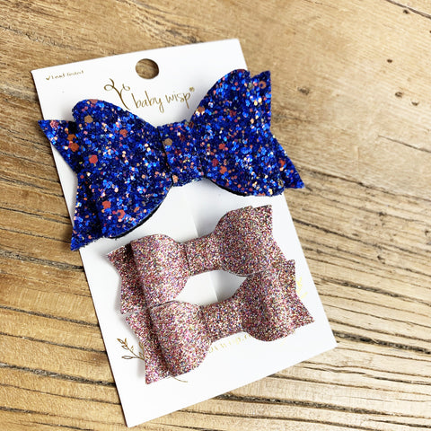 3 Mixed Glitter Bows Gift Set - Toddler Hair Clips - Baby Wisp