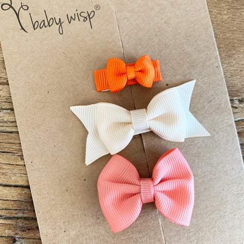 3 Mixed Styles Baby Bows Orange Crush Gift Set - Baby Wisp