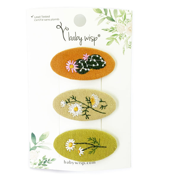 3 Floral Embroidered Fabric Toddler Snap Clips - Baby Wisp