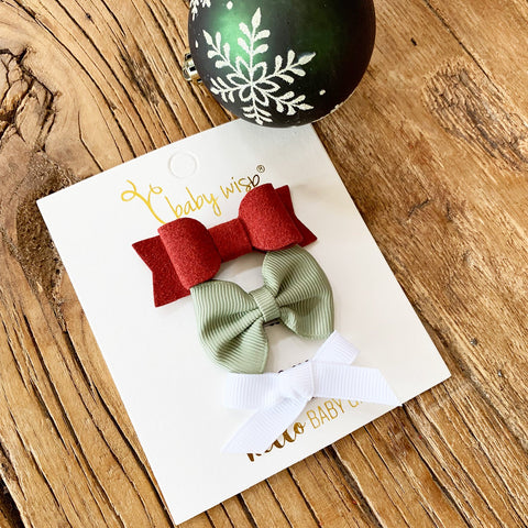 3 Mini Latch Wisp Clip Bows Gift Set - Christmas Wreath - Baby Wisp