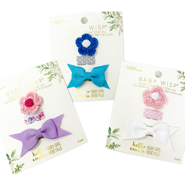 3 Wisp Clips - Flower, Ribbon and Baby Bow Set - Baby Wisp