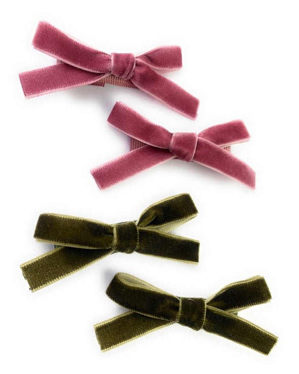 4 pack Velvet Alligator Clips School Girl Tied bows Ponytails - Baby Wisp