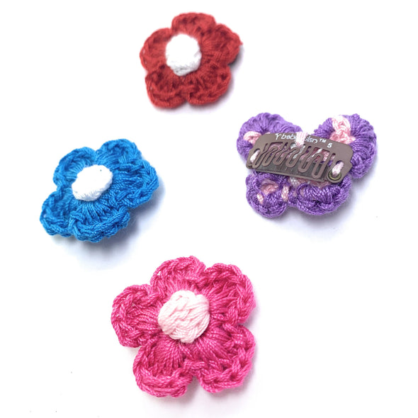 Crochet Flower Hair Clip Collection - 4  Mini Wisp Clips - Baby Wisp