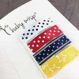 4 Small Snap Ribbon Clips - Fourth of July Gift Set - Baby Wisp