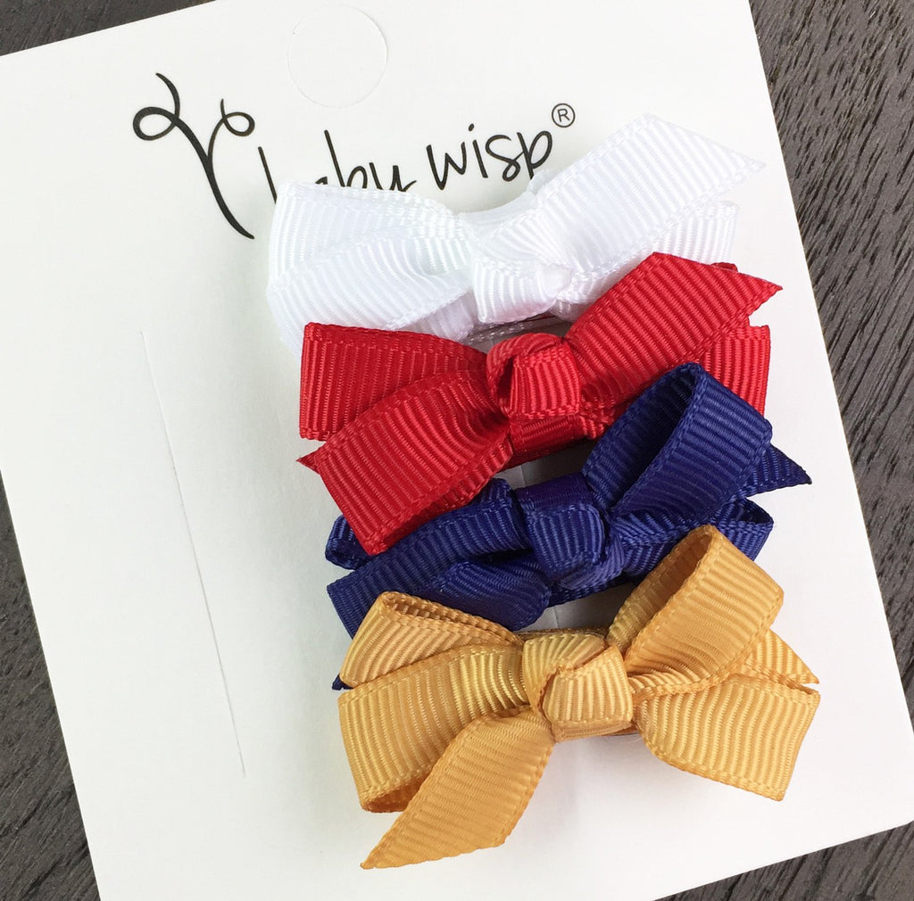 4 Chelsea Boutique Bows Snap Clips - Sweet Americana Gift Set - Baby Wisp