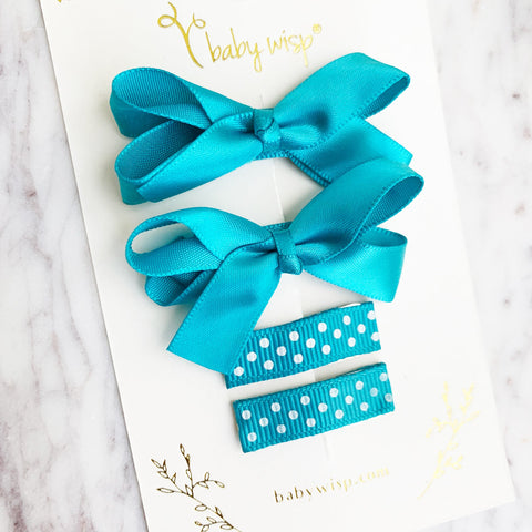 4 Clip Gift Set - Small Snap Satin Boutique Bows and Simple Ribbon Clips - Baby Wisp
