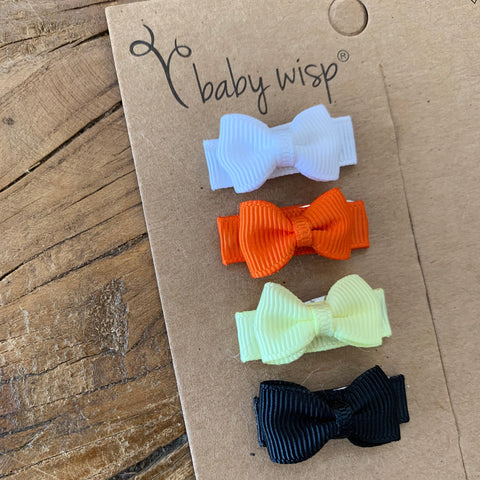 4 Tiny Tuxedo Grosgrain Bows Snap Clips - Candy Corn - Baby Wisp