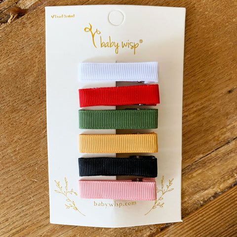 Ribbon Lined Alligator Clips -  Gift Set - Baby Wisp