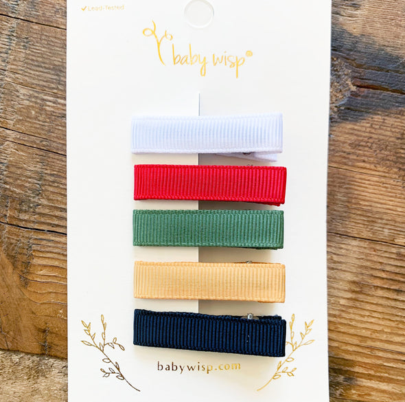 Ribbon Lined Alligator Clips -  Simple Clips Christmas Bows Set - Baby Wisp