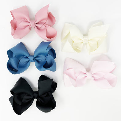 5 Americana Large Boutique Bows Alligator Clips - Perfection - Baby Wisp