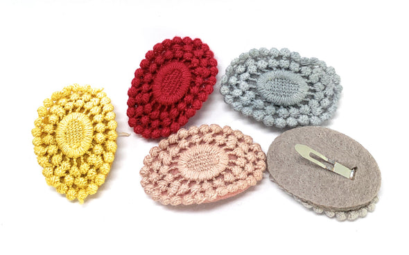 5 Hilda Crochet Large 5cm Snap Clips - Baby Wisp