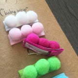5 Pack Pom Pom Collection - Small Snap Clips - Baby Wisp