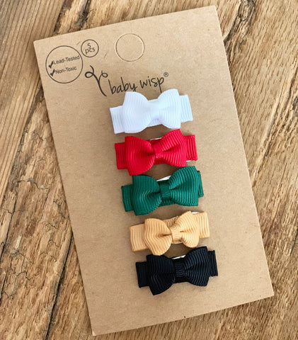 5 Small Snap Tuxedo Grosgrain Hair Bows - Holiday Collection - Baby Wisp