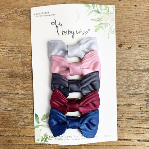 5 Charlotte Baby Bows - Holiday Season Hairbow Picks - Baby Wisp
