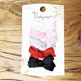5 Mini Latch Wisp Clips - Hand Tied Grosgrain Bow - Baby Wisp