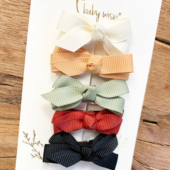 5 Small Snap Chelsea Boutique Bows Gift Set - Pine Needles - Baby Wisp