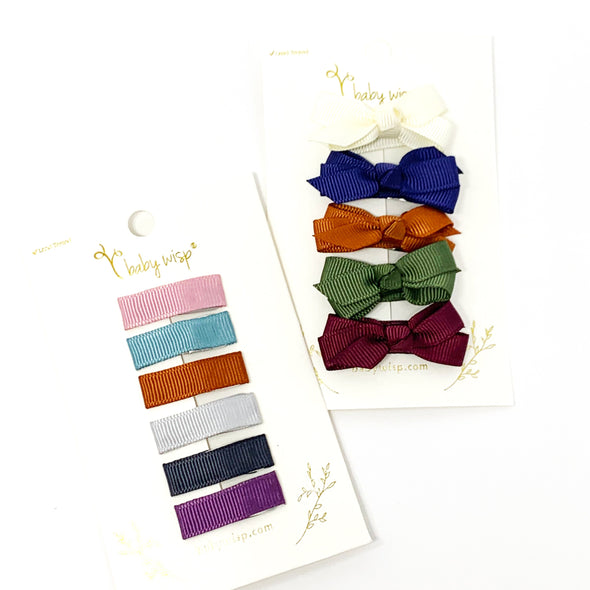 11 Small Snap Clips Fall Gift Set - Ribbon Lined and Chelsea Boutique Bows - Baby Wisp