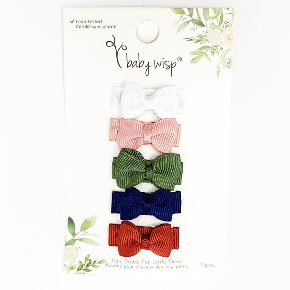 5 Small Snap Mini Tuxedo Bows - Humble Brag - Baby Wisp