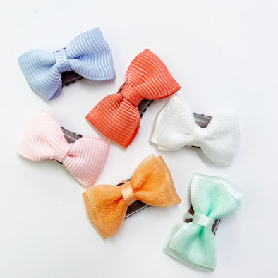 6 Tiny Bows - Mixed Style Wisp Hair Clips Gift Set - Baby Wisp