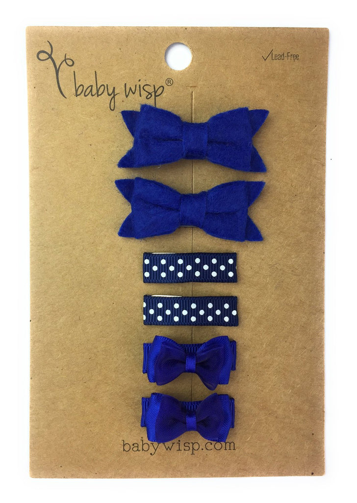6 Pack Mini Wisp Clip Hair Bow and Snap Clip Gift Set - Baby Wisp