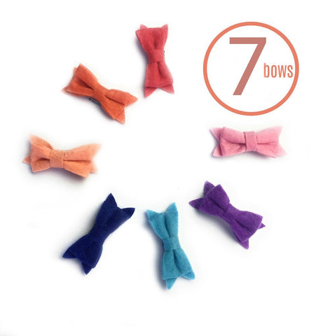 Mini Latch Wisp Clip - 7 Felt Baby Bows Collection - Baby Wisp