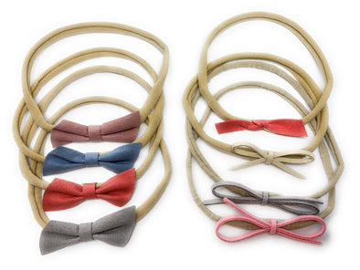 8 Mixed Style Suede Baby Bows, Cord Rope Bows Infant Girl Headband Gift Set - Baby Wisp