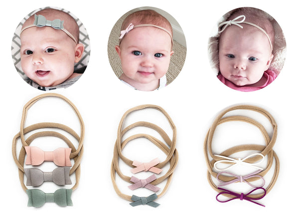 Best Baby Shower Gift - 9 Mixed Style Faux Suede Newborn Girl Headband Gift Set - Baby Wisp