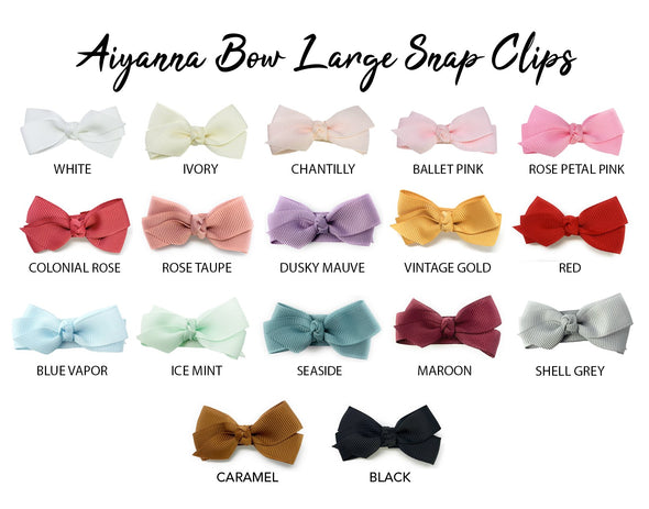 Aiyanna Boutique Hair Bow - Large 5cm Snap Clip - Baby Wisp