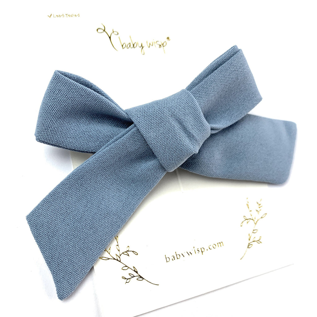 victoria school girl tied bow fabric bow on alligator hair clip