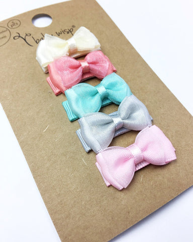 5 Hair Bow Gift Set - Small Snap Fancy Bows - Prima Ballerina - Baby Wisp