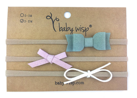 3 Faux Suede Baby Bows Infant Headband Gift Set - Newborn Babies - Baby Wisp