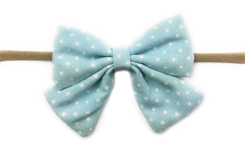 Oversized Vintage Sailor Bow Polka Dot Headband - Baby Blue - Baby Wisp