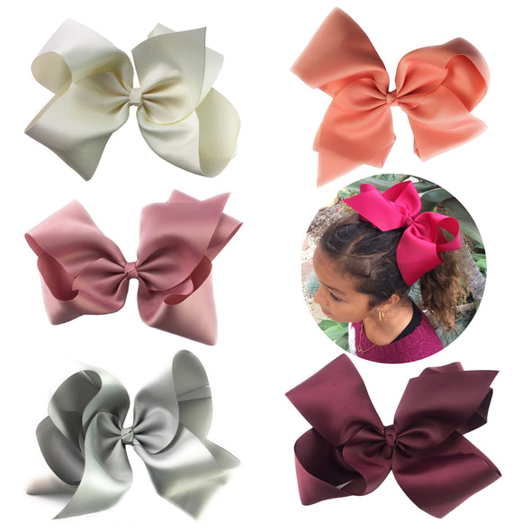 5 Big Mariah Boutique HairBows Pinch Clip Gift Set - Baby Wisp