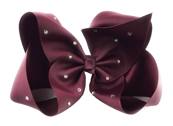 Nicki Bow Pinch Clip - Sparkle - Burgundy - Baby Wisp
