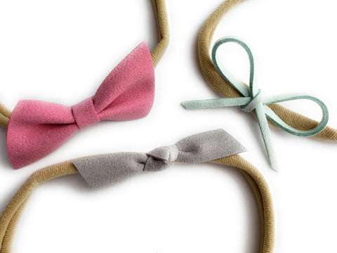 3 Faux Suede Mixed Style Bows - Infant Headband Gift Set - Pink - Baby Wisp