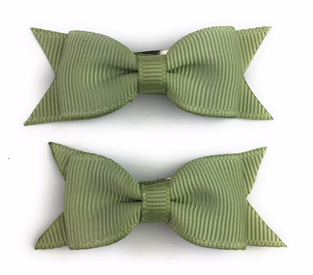 sage green tiny bows for toddlers and babies