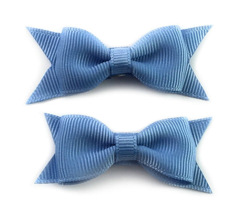Small Snap Cadeau Bows - French Blue - Baby Wisp