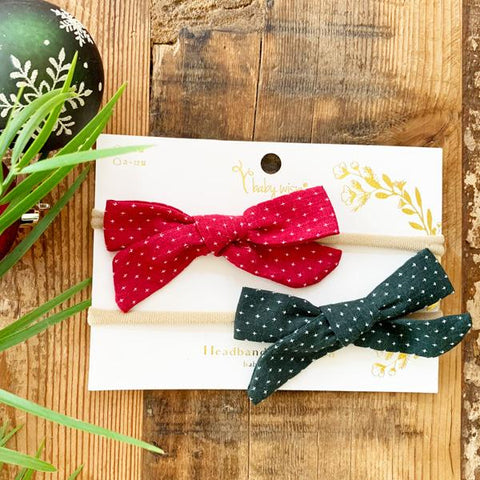 Christmas Bows 2 PC Headband Gift Set - Forest Green and Berry Red - Baby Wisp
