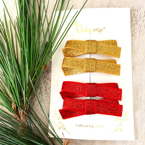 4 Small Snap Glitter Hand Tied Bows - Red and Gold - Baby Wisp