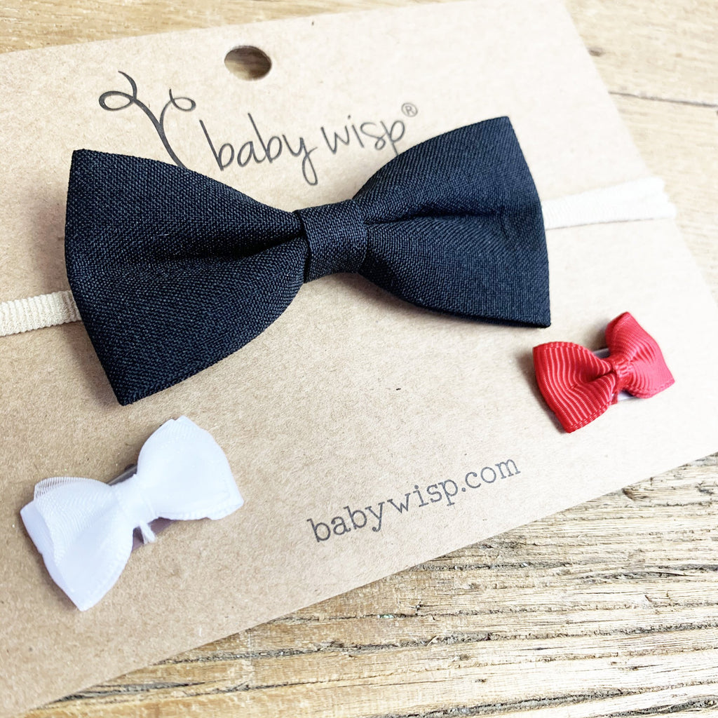 Christmas Bow Headband and 2 Wisp Clips Set | Baby Wisp - Baby Wisp